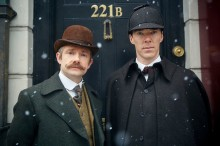 MASTERPIECE  Sherlock: The Abominable Bride Benedict Cumberbatch (The Imitation Game) and Martin Freeman (The Hobbit) return as Sherlock Holmes and Dr. Watson in the acclaimed modern retelling of Arthur Conan Doyle's classic stories. But now our heroes find themselves in 1890s London. Beloved characters Mary Morstan (played by Amanda Abbington), Inspector Lestrade (Rupert Graves) and Mrs. Hudson (Una Stubbs) also turn up at 221b Baker Street. Sherlock: The Abominable Bride is a 90-minute Sherlock Special.  Picture Shows: Dr. John Watson (MARTIN FREEMAN), Sherlock Holmes (BENEDICT CUMBERBATCH)  © Robert Viglasky/Hartswood Films and BBC Wales for BBC One and MASTERPIECE  This image may be used only in the direct promotion of MASTERPIECE. No other rights are granted. All rights are reserved. Editorial use only.